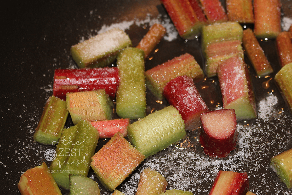 Rhubarb-and-sugar-cooking-down-in-a-non-stick-pan-2-The-Zest-Quest