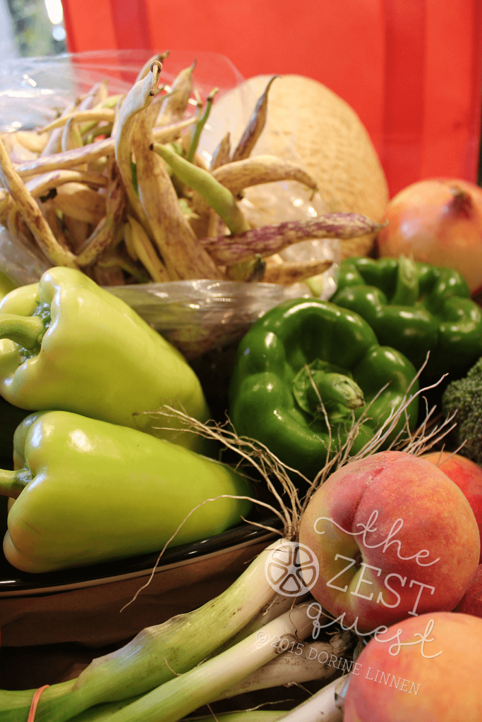 CSA-Farm-Share-2015-Week-9-includes-2-kinds-of-peppers-plus-wierd-wonderful-Dragon-Tongue-Beans-2-The-Zest-Quest