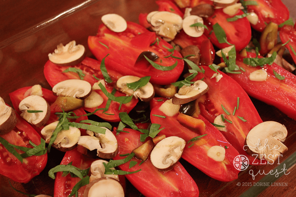 Roasted-Tomatoes-before-roasting-in-glass-dish-with-mushrooms-basil-rosemary-garlic-2-The-Zest-Quest