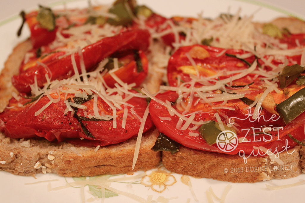 Roasted-Tomatoes-on-Bread-with-garlic-peppers-herbs-and-parmesan-cheese-2-The-Zest-Quest