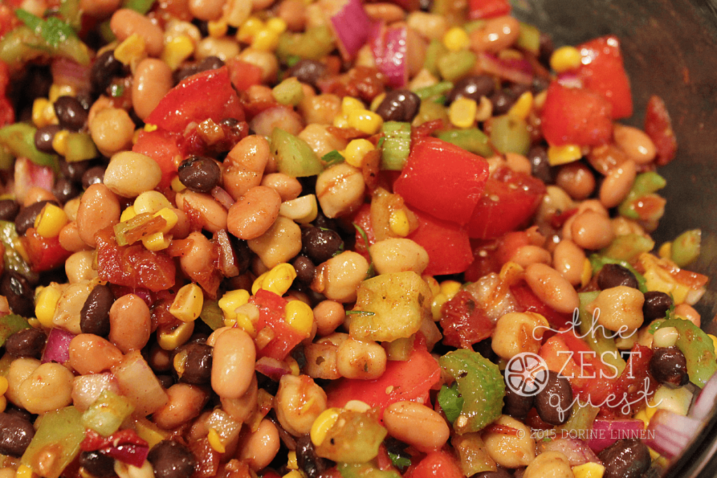 Zesty-Salsa-Bean-Salad-Recipe-includes-a-Salsa-dressing-made-with-oil-lime-spices-seasoning-then-mixed-well-2-The-Zest-Quest