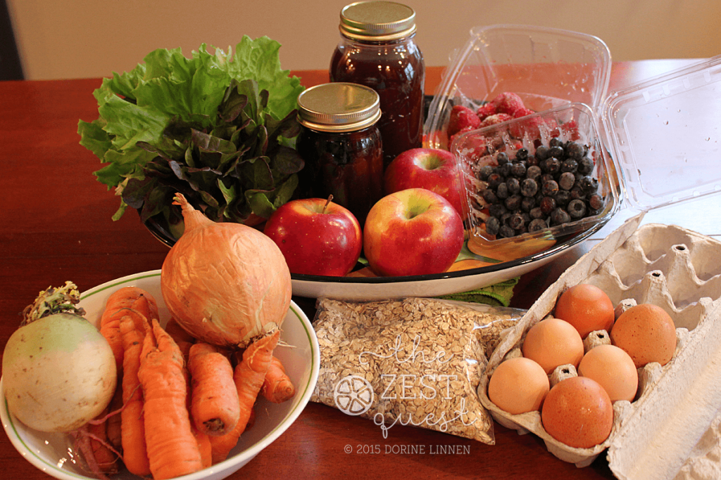 Ohio-Farm-Share-Winter-Week-11-half-Vegetarian-Pilot-share-Lettuce-Bouquet-Maple-Syrup-Grape-Cider-Eggs-Carrots-Blueberries-Strawberries-2-The-Zest-Quest