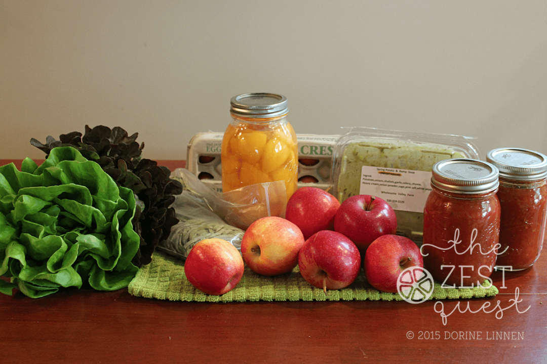 Ohio-Farm-Share-Winter-Week-15-Final-Vegetarian-Pilot-includes-Lettuce-apples-heirloom-tomato-sauce-and-Ramp-Pasta-Eggs-and-Peaches-2-The-Zest-Quest