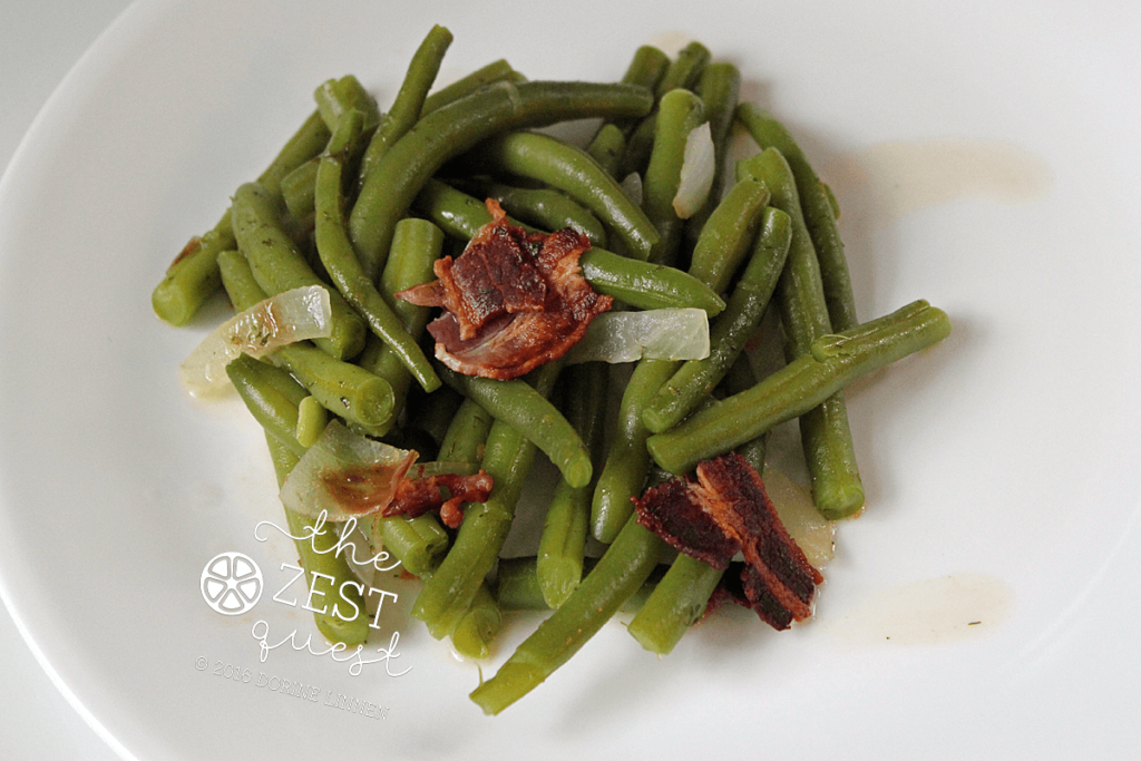 Green Beans with Peppered Bacon and Sweet Onion