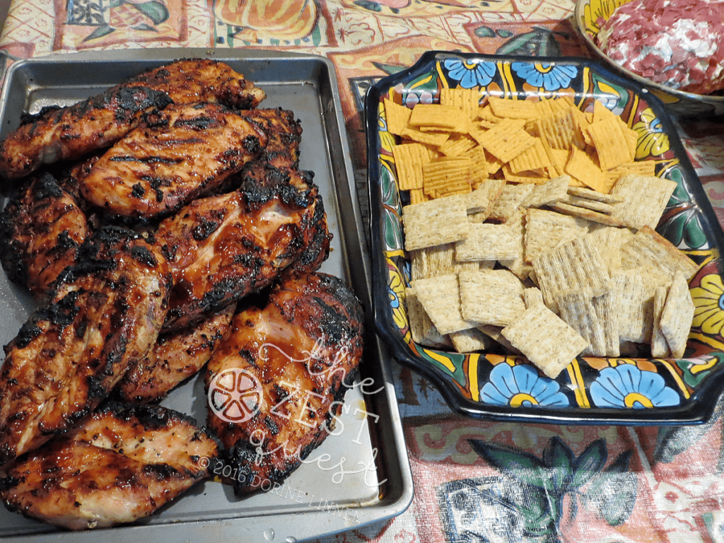 Grilled-Barbecue-Chicken-with-Crackers-and-Dried-Beef-Cheese-Ball-Picnic-Fare-2-The-Zest-Quest