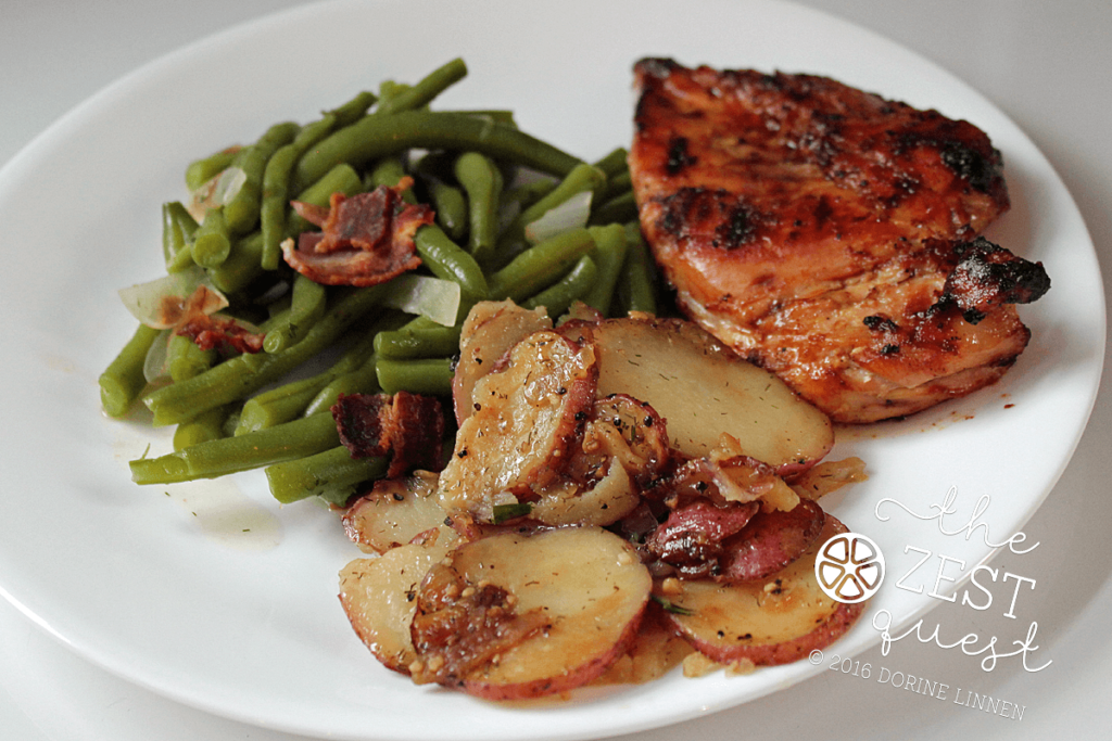 Green Beans with Bacon plus Red Potatoes with Candy Sweet Onion and Rosemary and BBQ Chicken