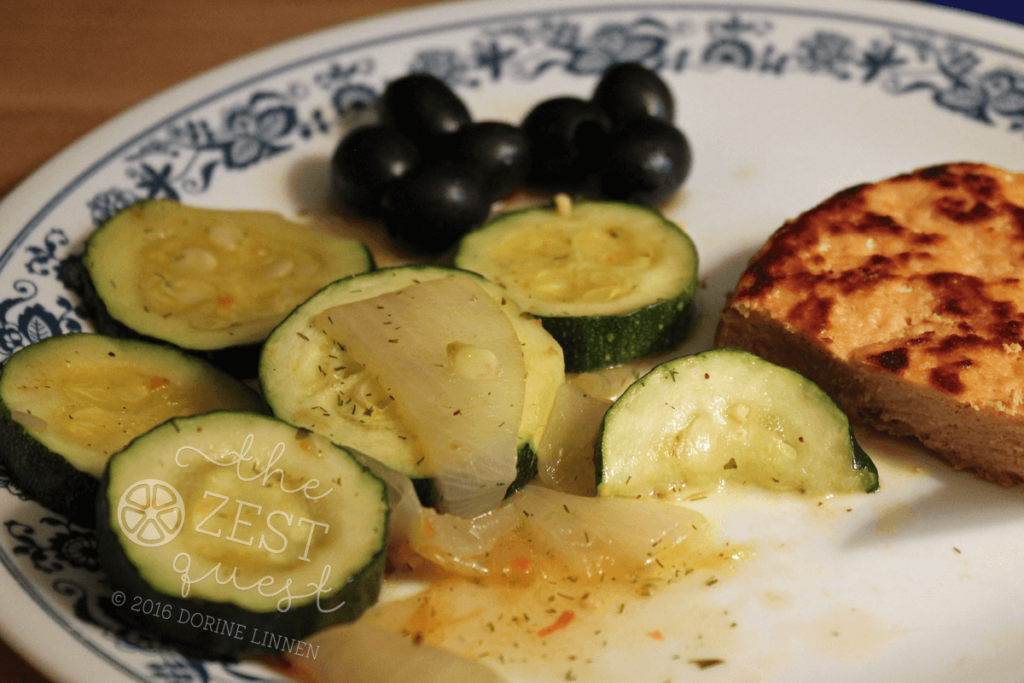 Zucchini-and-Onions-with-Salmon-patties-and-Olives-quick-dinner-2-The-Zest-Quest
