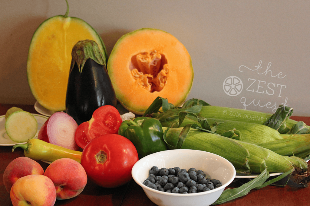 Ohio-Farm-Share-Summer-Week-10-Vegan-Half-Share-is-juicy-delicious-with-melons-blueberries-vivid-red-tomatoes-and-more-2-The-Zest-Quest
