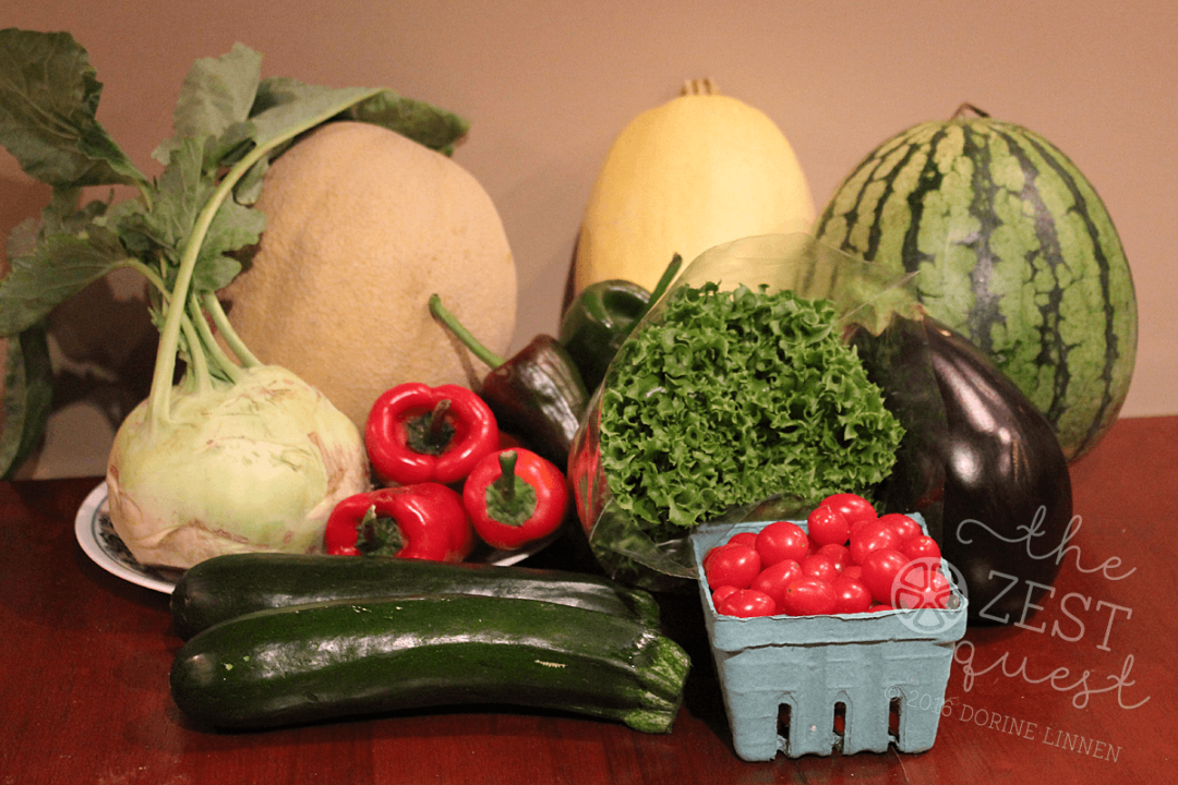 Ohio Farm Share Summer Week 15 season with Poblanos includes Melons, Squash, Kohlrabi, Lettuce, Tomatoes and Eggplant