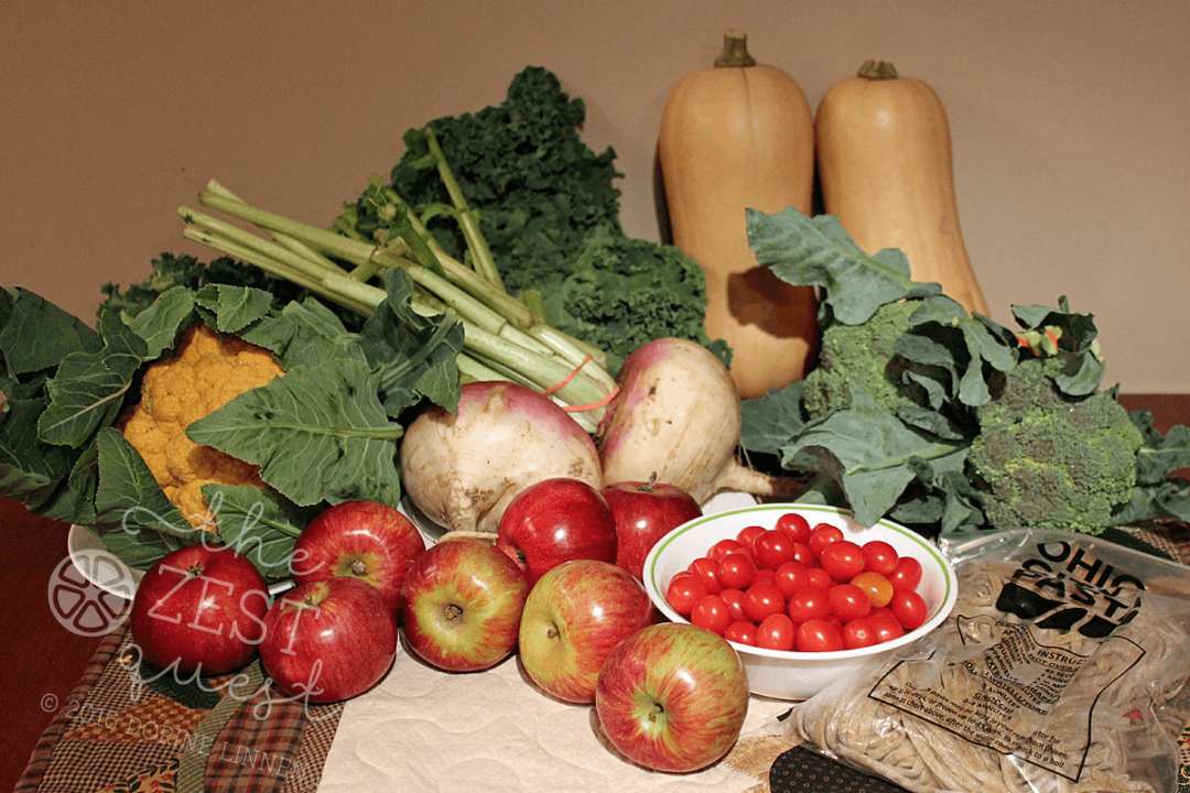 ohio-farm-share-summer-week-21-2016-apples-turnips-pasta-butternut-squash-broccoli-kale-cauliflower-tomatoes-2-the-zest-quest