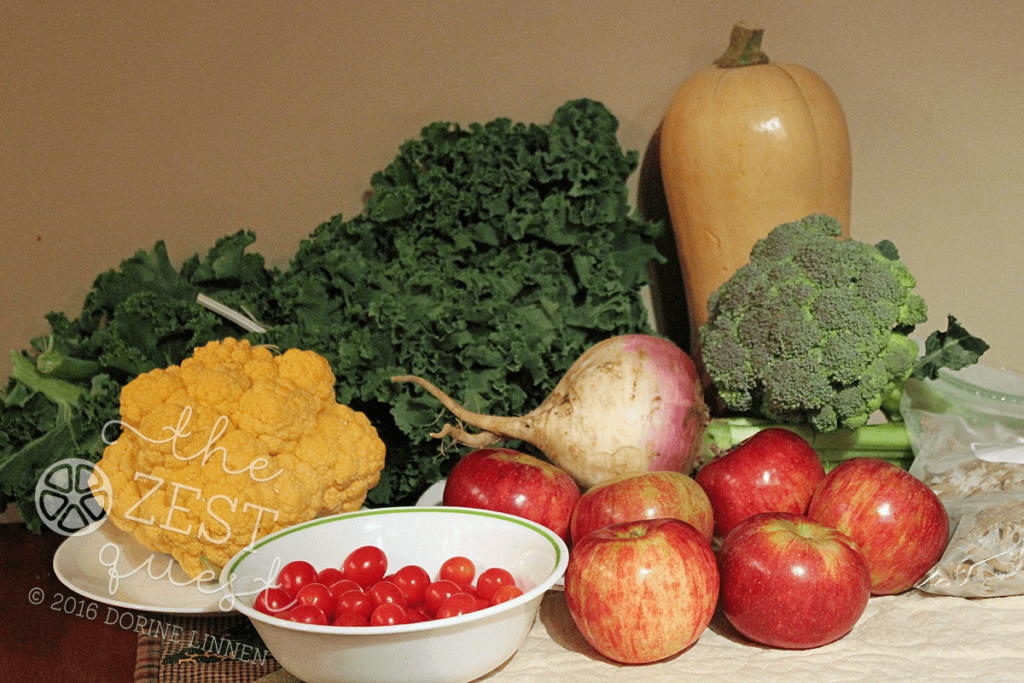 ohio-farm-share-summer-week-21-2016-half-share-of-tomatoes-apples-pasta-broccoli-butternut-squash-kale-turnip-cauliflower-2-the-zest-quest
